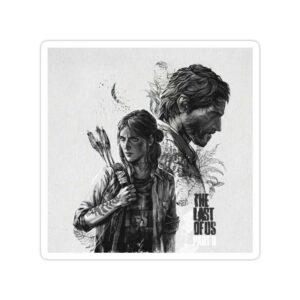 استیکر The Last of Us - جوئل و الی (سیاه سفید)