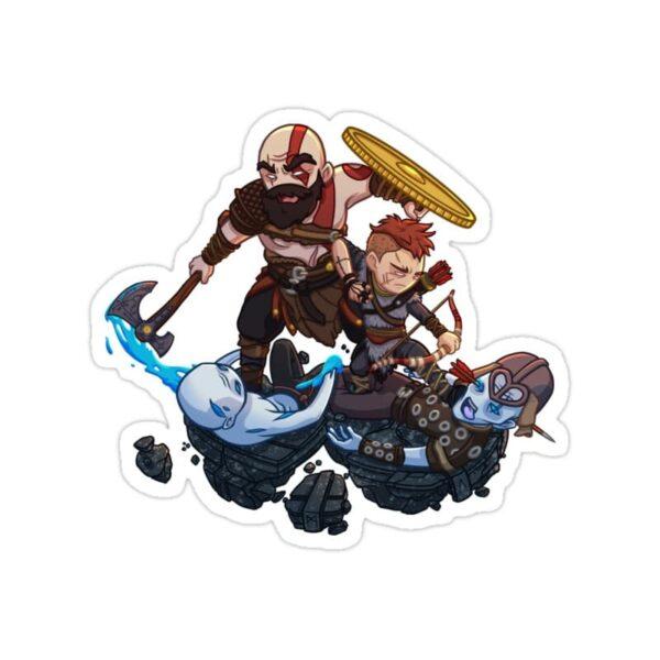 استیکر خدای جنگ - پدر و پسر کارتونی