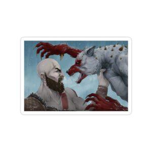 استیکر خدای جنگ - درگیری با گرگ