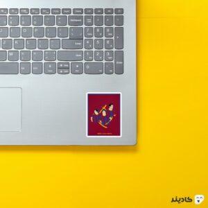 استیکر لپ تاپ مسی-اینیستا-ژاوی روی لپتاپ