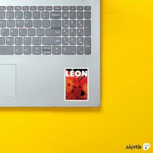 استیکر لپ تاپ پوستر کارتونی لئون حرفه ای روی لپتاپ