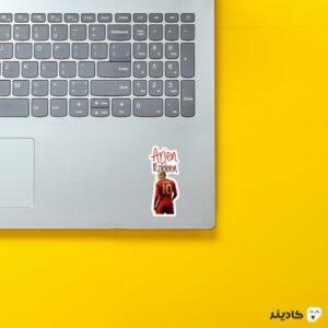 استیکر لپ تاپ آرین روبن روی لپتاپ