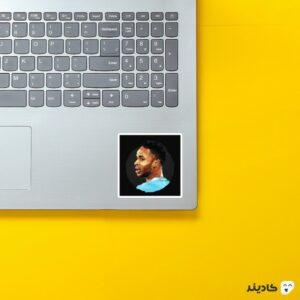 استیکر لپ تاپ رحیم استرلینگ روی لپتاپ