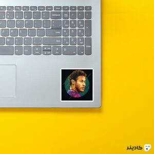 استیکر لپ تاپ پرتره هنری نیمار روی لپتاپ
