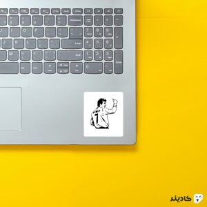 استیکر لپ تاپ بکهام سیاه سفید روی لپتاپ