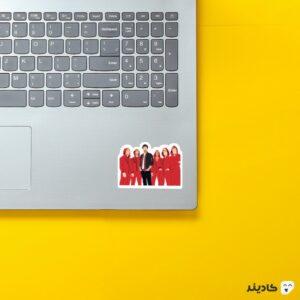 استیکر لپ تاپ شخصیتهای سریال با ماسک روی لپتاپ