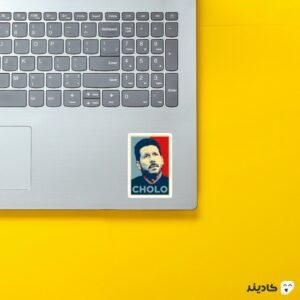 استیکر لپ تاپ دیگو سیمئونه روی لپتاپ