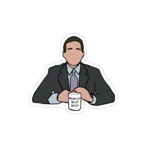 استیکر لپ تاپ سریال آفیس - مایکل به همراه لیوانش