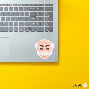استیکر لپ تاپ مستر ربات - لوگوی مرد نقابدار روی لپتاپ