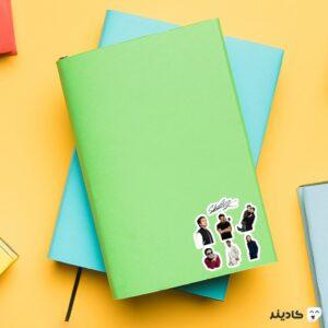 استیکر لپ تاپ میکرو استیکر سباستین استن روی دفترچه
