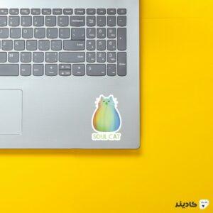 استیکر لپ تاپ روح گربه روی لپتاپ