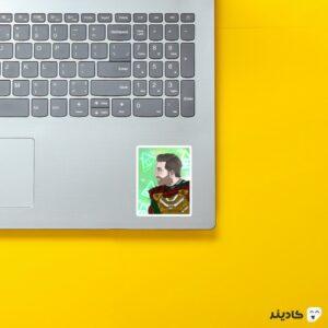استیکر لپ تاپ نقاشی میستریو روی لپتاپ