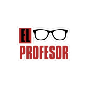 استیکر لپ تاپ تایپوگرافی و عینک پروفسور