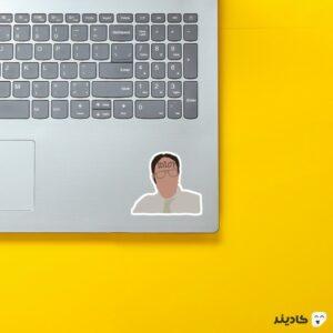 استیکر لپ تاپ سریال آفیس - تایپوگرافی دویت روی لپتاپ