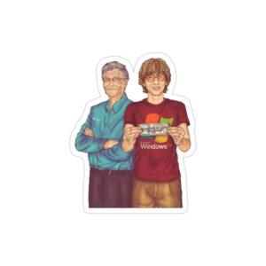 استیکر لپ تاپ بیل گیتس - بیل گیتس جوان و پیر