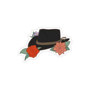 استیکر لپ تاپ Red Dead - کلاه بازی در میان گلها