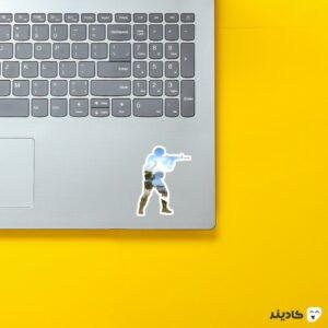 استیکر لپ تاپ کانتر استرایک - پوستر سرباز جنگی شفاف روی لپتاپ
