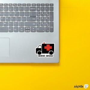 استیکر لپ تاپ استیکر لپ تاپ پزشکی - آمبولانس روی لپتاپ